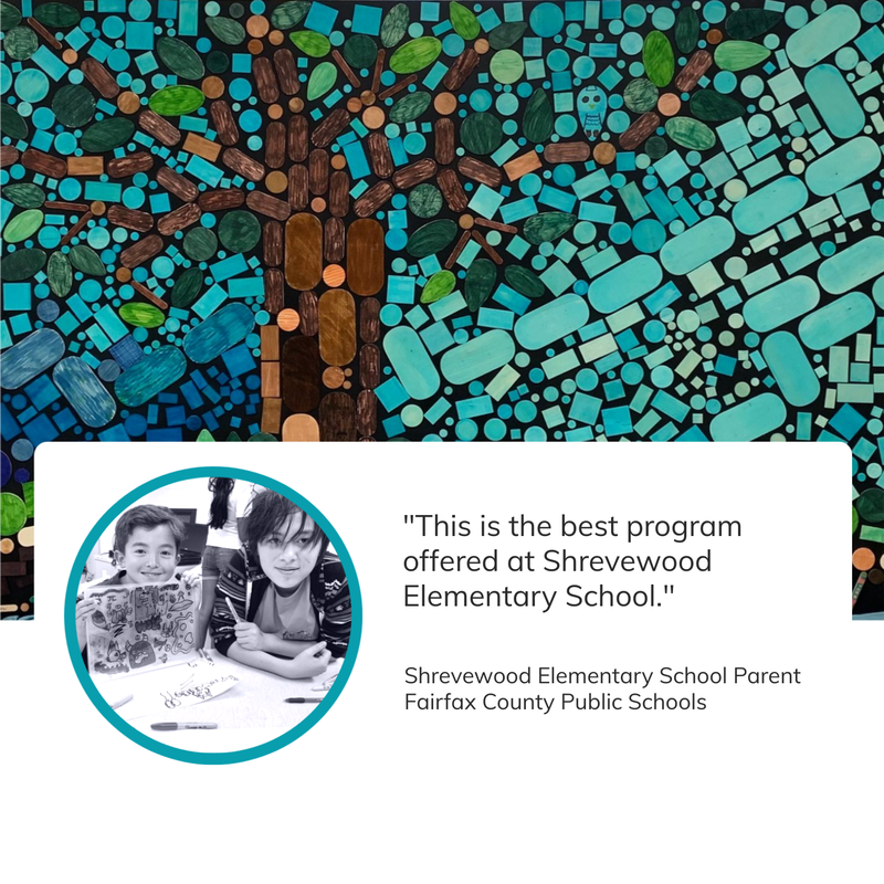 An image montage with a vibrant colorful mosaic of a tree in the background that Cultured Kids created with children during one of their youth programs, a black and white image of two children, and a quote form a parent who's child participated that says: 'This is the best program offered at Shrevewood Elementary School.